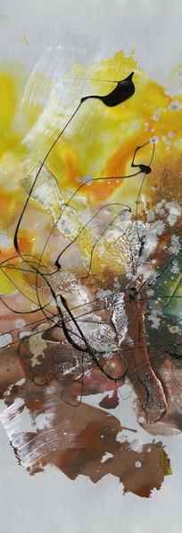 水墨 玄关 流彩 竖版抽象油画