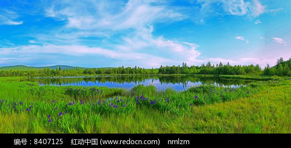 大兴安岭马兰湖风光 全景高清图片