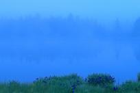 晨雾中朦胧的湖泊