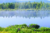 晨雾中的马兰湖