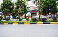 城市道路绿化和温馨提示牌