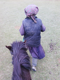 老奶奶牵着她的马