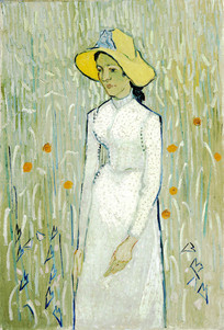 梵高 穿白裙子的少女