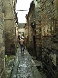 明清瓦老房子石板小路