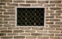 青砖网格方窗墙背景