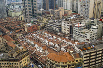高空鸟瞰上海老城区