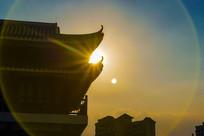 惠州金山湖公园阁楼夕阳