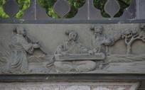 石刻浮雕古代弹琴女子