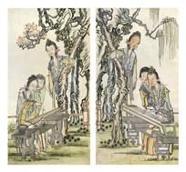 古版年画抚琴图