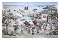 古版年画十美图放风筝