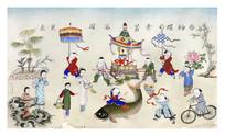 古版年画童子戏八宝
