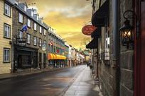 加拿大魁北克雨后街道