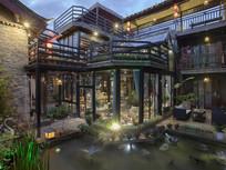 露天观景台水池庭院