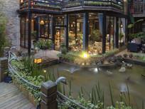 小木桥喷水池民族特色建筑