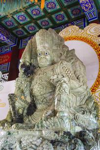 北方多闻天王玉石雕像