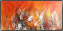 红色调抽象油画