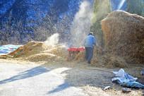 粉碎麦秆的老人