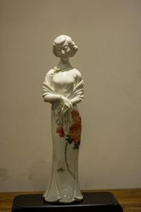 精美白瓷印花民国时期古典美女