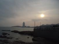青岛夕阳海边风景