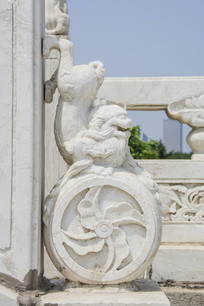 玉佛寺围栏石狮与石鼓石雕