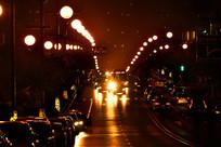 排列路灯夜景