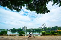 市民骑自行车路过南门公园
