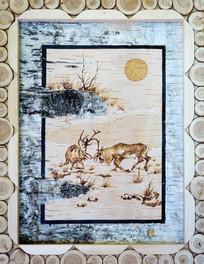 桦树皮画《驯鹿》