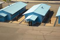 远眺朝鲜板门店蓝色会议室