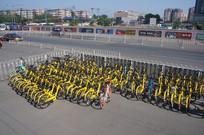 俯拍小黄车单车