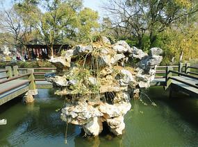 杭州西湖假山古典风景