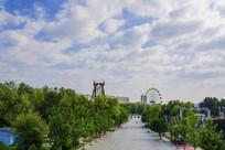 东山乐园道路树木与满天白云
