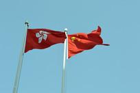 飘扬的中国国旗和香港特区区旗