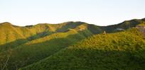 斜阳中的绿色山岭