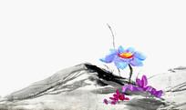 水墨山和莲花
