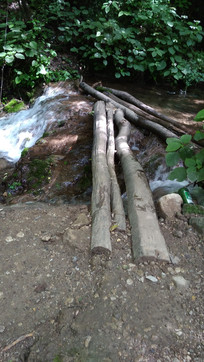 河道上的横木小桥