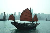 香港海边景观帆船