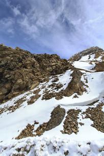 雪山细节积雪