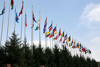 飘扬的多国旗帜