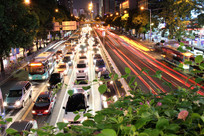 城市公路夜间车流线