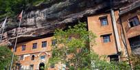 修建在石崖中的庙堂