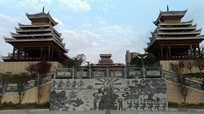 蓝天下的侗族特色建筑