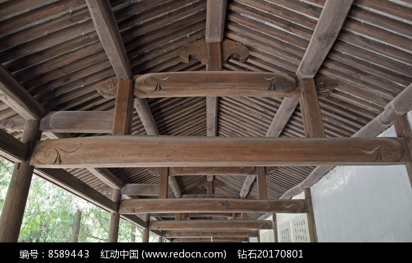 木雕走廊古建筑图片图片