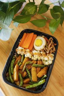 豆角焖茄子米饭套餐美食图片