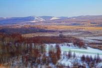 山林河流雪景