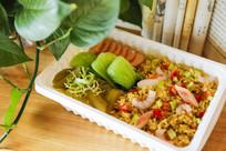 虾仁米饭套餐美食图片