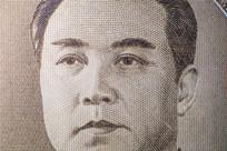 朝鲜100元纸币特写