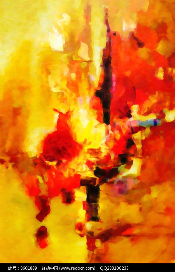 竖版壁画抽象油画图片
