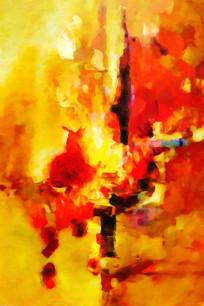 竖版壁画抽象油画