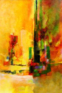 竖版抽象油画壁画