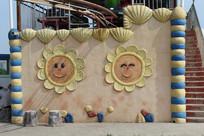 向日葵雕塑墙